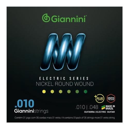 Imagem 1 de 3 de Encordoamento Para Guitarra Giannini Geegstp10 010 Hibrido