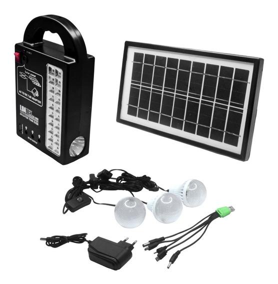 Placa Solar + 3 Lâmpadas Bulbo Led Lanterna Carrega Celular