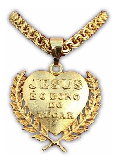 Cordão Banhado A Ouro + Pingente Jesus É O Dono Do Lugar