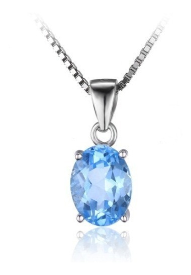 Colar Joia Feminino Elegante Topázio Azul Natural Prata 925