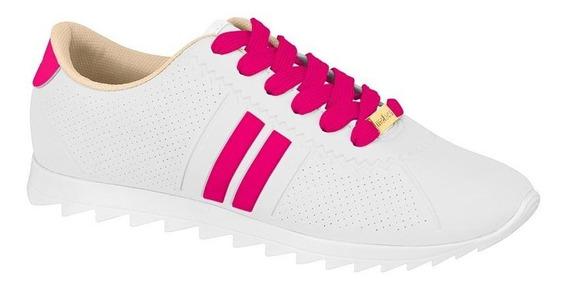Tênis Feminino Moleca Tratorado Branco Listra Pink 5632100
