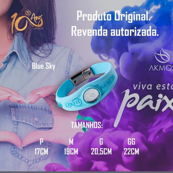 Bracelete Akmos Azul Magnética Infra-vermelho Longo Original