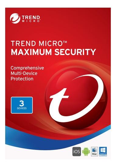 Trend Micro Maximum Security 1 Ano 3 Dispositivos Pc Mac Cel