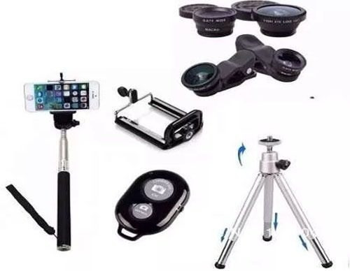 Kit Smart Tripé+con+bastão+microfone+flash+lentes Frete Fixo