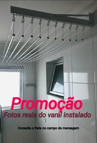 Varal De Teto E Parede 150cm 10 Varetas Aluminio Branco