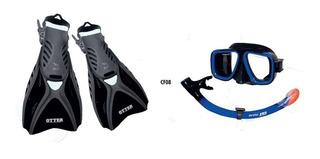 Kit De Buceo Ist Silitex Cf08/bs-bk-m + Mascara/ Snorkel