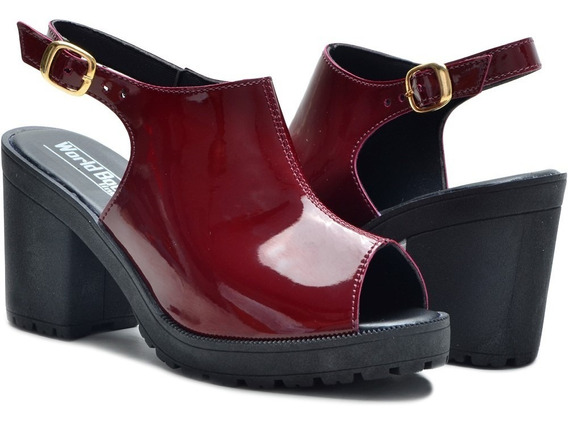 Sandalia Salto Alto Grosso Feminino Moderna Barato Linda