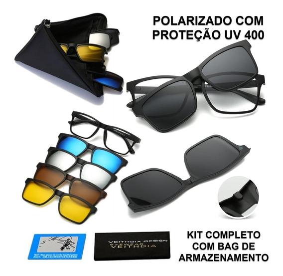 Oculos De Sol Polarizado Clip On 5 Em 1 (2 Unidades Promo)