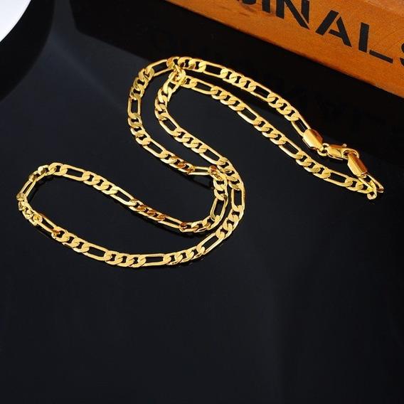 Colar Corrente Ouro Folheado 24 K Figaro 59,5 Cm