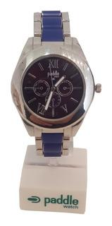 Reloj Mujer Paddle Watch Moda Plata Y Azul Mod 23646