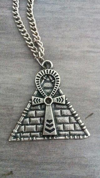 Colar Pirâmide Egípcio Ankh Ansata Egito Antigo Anubis