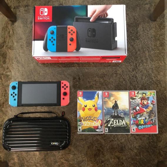 Nintendo Switch 32gb + Película + Case + 3 Jogos + Micro Sd