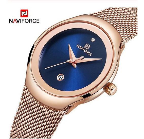 Relogio Feminino Naviforce Modelo Nf5004 Todo Em Aço Inoxidável Mostrador Azul Original Envio Em 24 Horas!!!