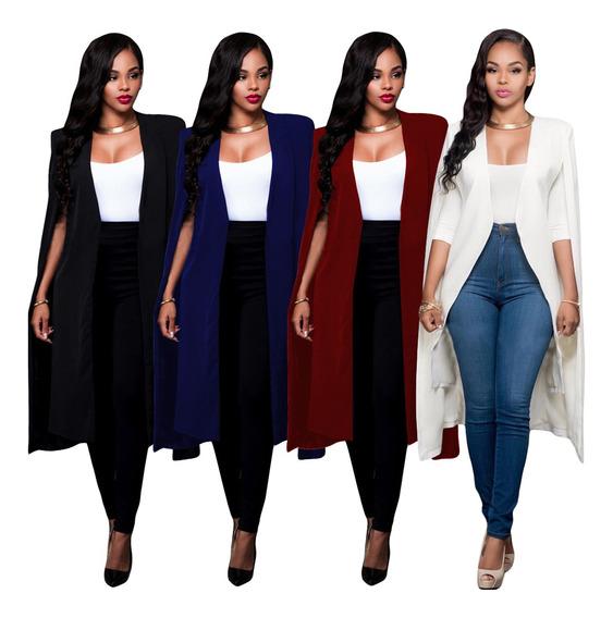 Mujeres Capa Larga Cape Blazer Coat Cardigan Split Jacket Sl