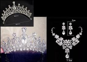 Coroa Tiara Noiva Debutante + Colar + Brincos + Frete Grátis