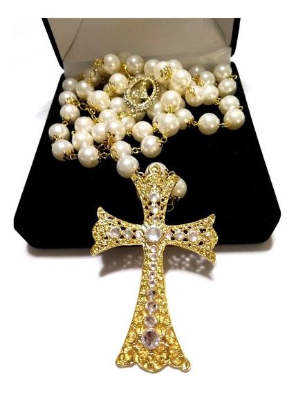 Terço De Noiva Dourado Perolas Creme Nossa Senhora Aparecida