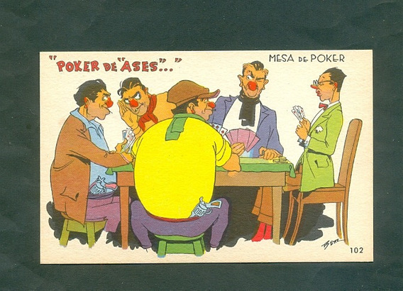Benz . Poker De Ases . Tarjeta Postal .