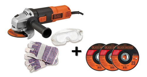 Kit Pulidora 820w + Guantes + Gafas + 3 Discos Black+decker