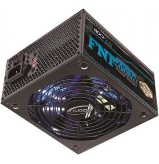 Fonte Atx Real 650w Cooler Led Rgb Pfc Negativo Hoopson