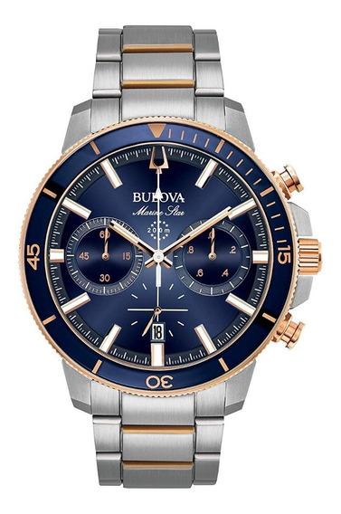 Reloj Bulova Marine Star Chrono 98b301 Plateado-azul Marino