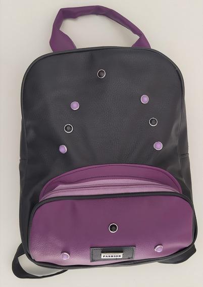 Mochila Negra Combinada Con Violeta De Eco Cuero