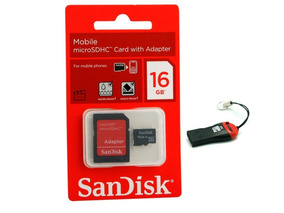 Cartão Memória Micro Sd Sandisk 16giga+leitor Sd+leitor Usb