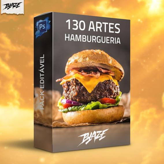 Pack 130 Artes Hamburgueria Editável Photoshop + Brinde
