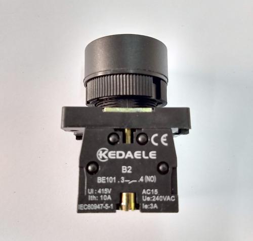 Remate Pulsador Electricidad 415v 10a 22mm  Largo 54mm Negro
