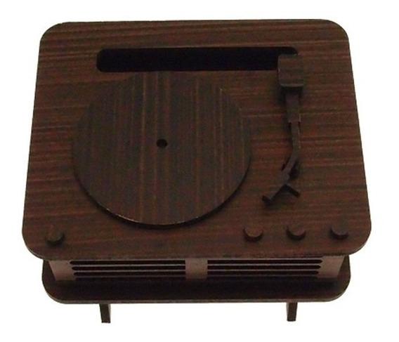 Vitrola Retrô Decorativa Minimalista Marrom Em Mdf 10x14cm