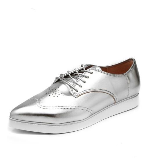 Sapato Fem. Oxford Azaleia Original Verniz Prata Metalizada