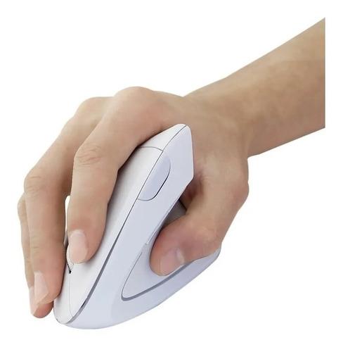Imagen 1 de 5 de Mouse Vertical Inalámbrico 2.4g Y Ergonómico Blanco