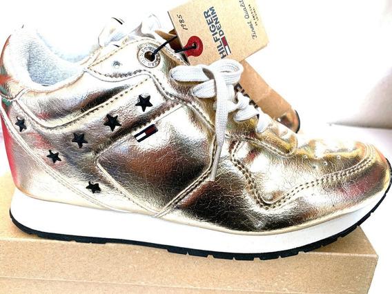 Zapatillas Tenis Sneakers Tommy Hilfiger Lady Dorado