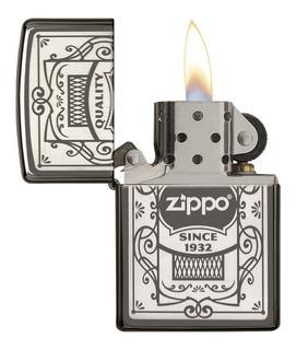 Encendedor Zippo Negro Hielo Logo Zippo Laser - Cod 29425