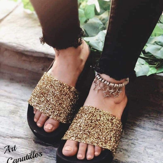 Sandalia Plataforma Altas Con Glitter Mujer Brillo Verano