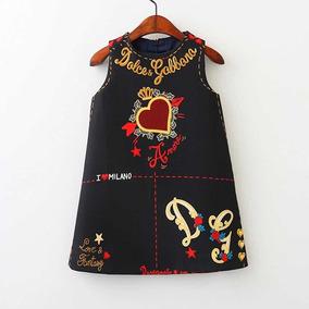 659e7ba641 Vestido Infantil Inspiração Dolce Gabbana Tam 9 10 E Tam 3 4