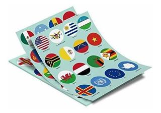 Pegatinas De Banderas Del Mundo: 224 Países Y Regiones, Ade