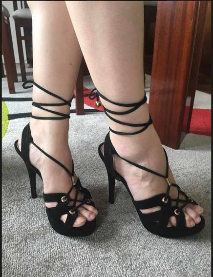 Sandália De Salto Alto, Preto, N. 35 - My Shoes