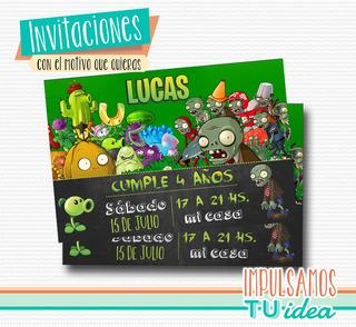 Tarjetas De Invitacion De Plantas Vs Zombies En Mercado
