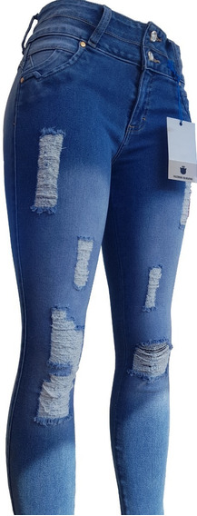 Jeans De Dama Mezclilla Stretch Con Destrucción