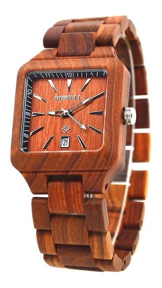 Relógio De Pulso Unissex Em Madeira De Bambu Bewell, Quartzo