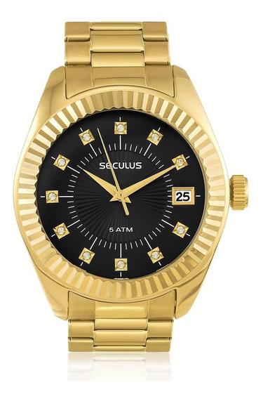 Relógio Feminino Seculus Analógico 13019lpsvds7 Fundo Preto