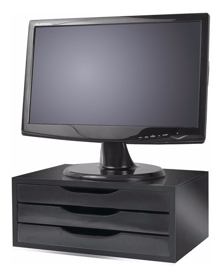 Suporte Para Monitor 3 Gavetas Super Funcional Black Piano