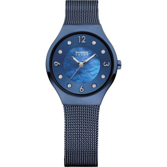 Reloj Bering Solar Collection Acero Azul Mujer 14427-393