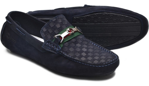 Kit 2 Mocassim Sapato Drive Gucci Casual Masculino Couro