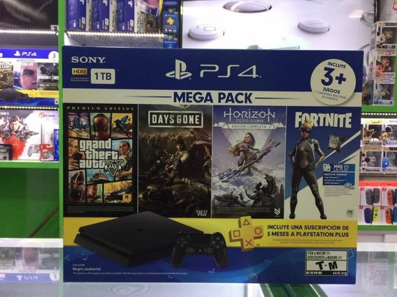 Consola Ps4 De 1tb Mega Pack +3 Juegos + Plus 3 Meses