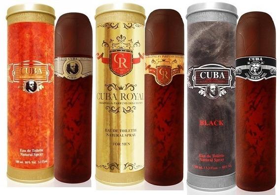 Kit Perfume Cuba Gold + Black + Royal 100ml Original