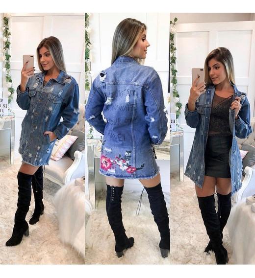 Jaqueta Maxi Jeans Grossa Com Bordado Nas Costas Destroeyd