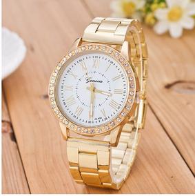 Relógio Ouro Feminino Com Cristais De Quartzo Analógico