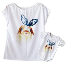Blusa Camiseta Tshirt Mamãe E Body Bebê Coelho Laço 2 Peças