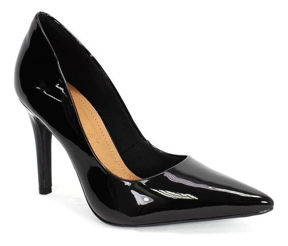 Sapato Feminino Scarpin Verniz Bebecê Preto